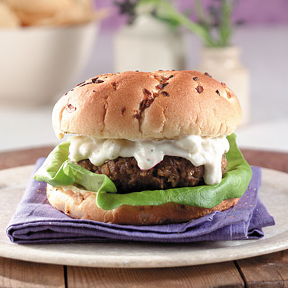 Lamb Burgers With Feta-Cucumber Raita Recipe