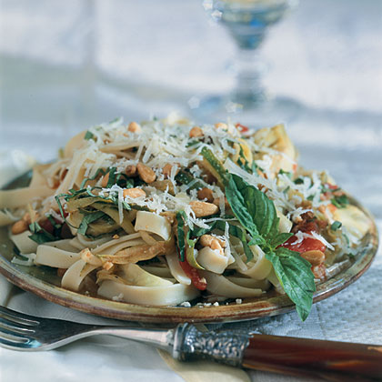 Lemon Fettuccine With Artichokes And Pine Nuts