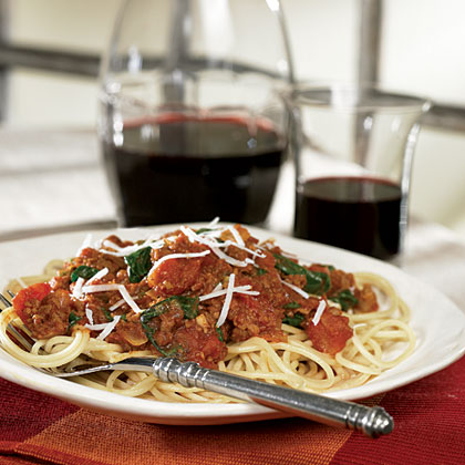 Meaty  Meatless Spaghetti With Fresh Spinach