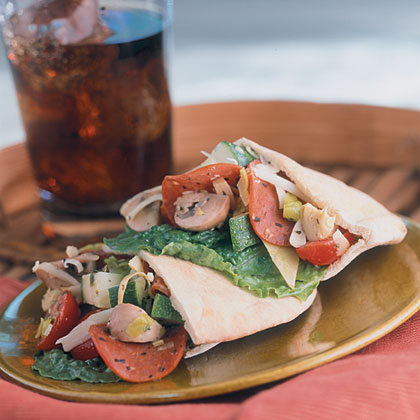 Pepperoni Salad-Stuffed Pitas