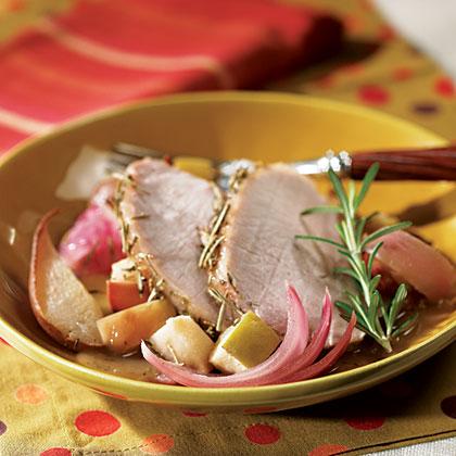 Pork Loin With Apple, Pear, And Onion