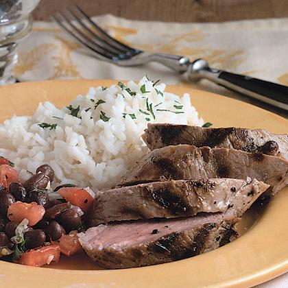 Grilled Pork Tenderloin With Black Bean Salad Recipe