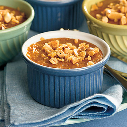 Pumpkin Custards With Brittle Topping