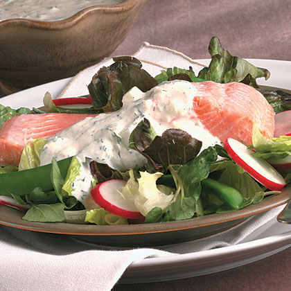 Poached Salmon Salad With Cucumber Dressing Recipe