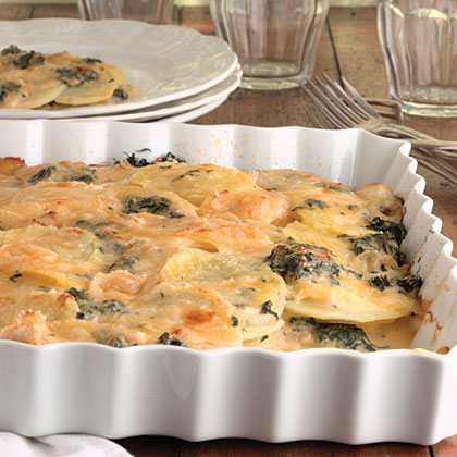 Scalloped Potatoes With Spinach And Cheese