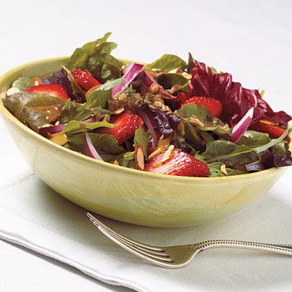 Strawberry-Almond Salad With Basil-Balsamic Vinaigrette