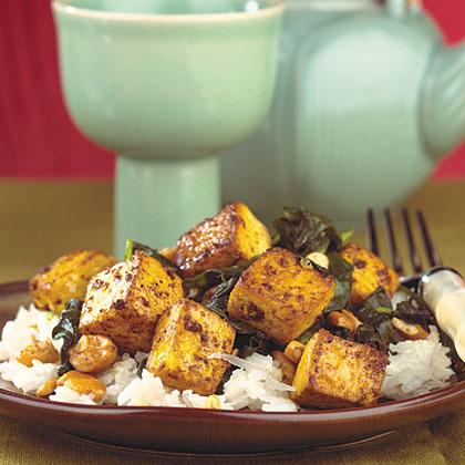 Pan-Fried Tofu With Coconut Rice