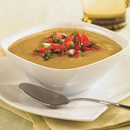 Chilled Tomatillo-Avocado Soup With Tomato Salsa