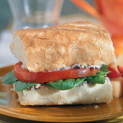 Tomato And Spinach Baguettes With Kalamata-Feta Spread