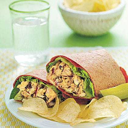 Curried Tuna Wraps RecipeTransform canned tuna by stirring in curry powder, hoisin sauce, currants and slivered almonds.  Serve in whole wheat tortillas.