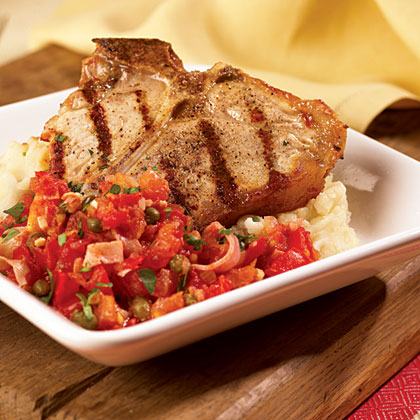Grilled Veal Chops With Prosciutto Tomato SauceRecipe
