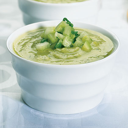 Zucchini And Avocado Soup With Cucumber Salsa Recipe