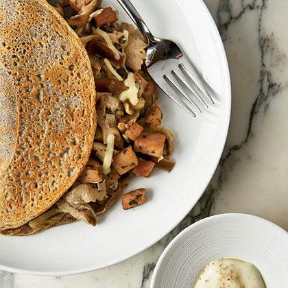 Savory Buckwheat Crepes with Ham and Mornay SauceRecipe