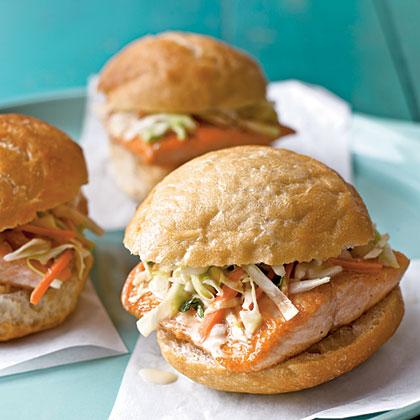 Arctic Char Sandwiches with Lemon-Tarragon Slaw