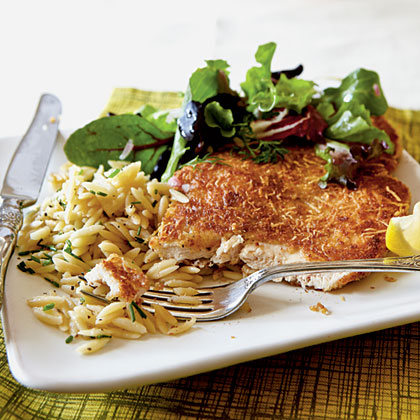 "Create a healthy, kid-friendly meal by slicing the chicken into ""fingers"" and serving over a colorful salad.Chicken Milanese with Spring Greens