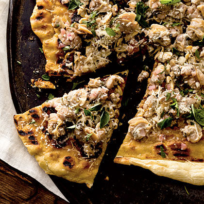 Garlicky Clam Grilled Pizza Recipe