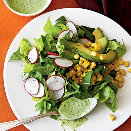 Roasted Corn and Radish Salad with Avocado-Herb Dressing