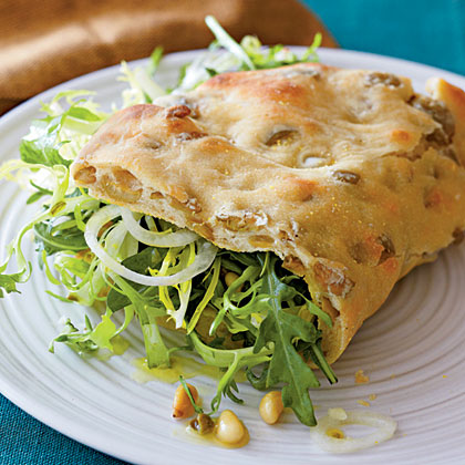 Olive Piadine with Arugula Salad and Caper Vinaigrette