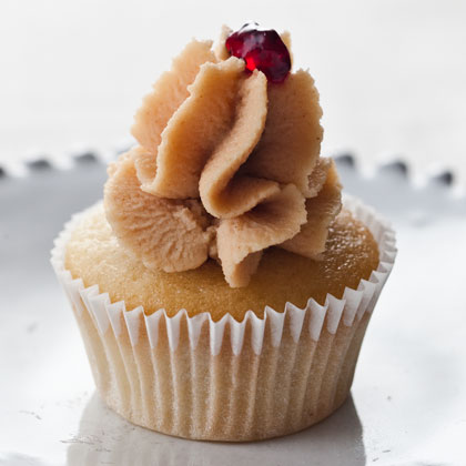 Mini PB&J Cupcakes                            RecipeTransform your favorite sandwich into bite-sized treats with this fun recipe. Peanut Butter-Cream Cheese Frosting and a dollop of grape jelly make nostalgic toppings for the tiny cakes.