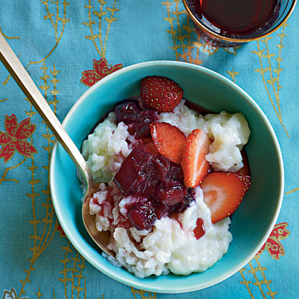 Ruby Port and Rhubarb Risotto with Sugared Strawberries