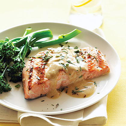 Grilled salmon with mustard wine sauce recipe myrecipes for Best wine with fish