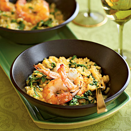 Pan-Seared Shrimp and Arugula Risotto