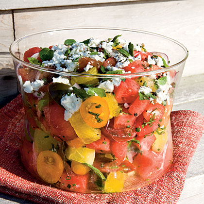 Watermelon, Heirloom Tomato, and Feta SaladRecipe