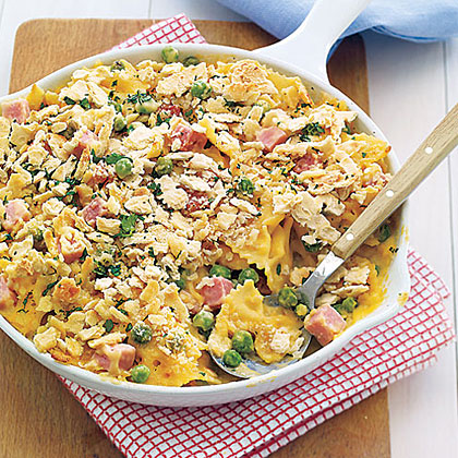Baked Pasta with Peas, Cheese and Ham