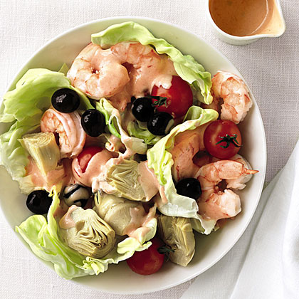 Familiar flavors and fun colors are the family-friendly combo that makes this meal a hit.Recipe: Shrimp, Artichoke, and Olive Salad