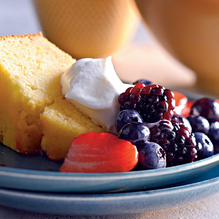 Lemon-Cornmeal Pound Cake with Berries and Cream