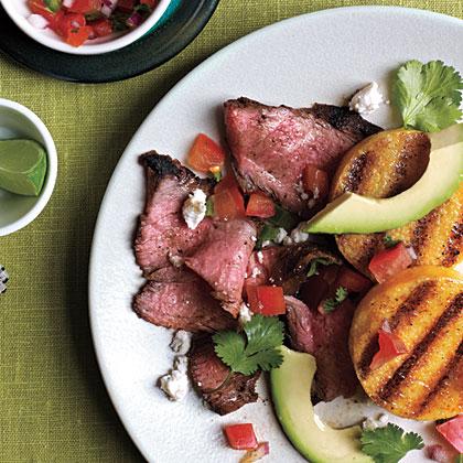 Grilled Polenta with Spicy Steak
