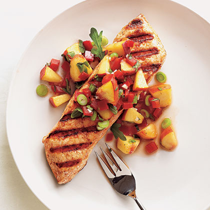 Grilled Halibut with Peach and Pepper Salsa Recipe | MyRecipes