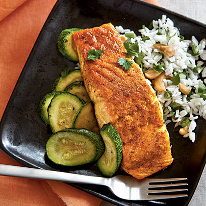 Indian-Spiced Salmon with Basmati RiceRecipe
