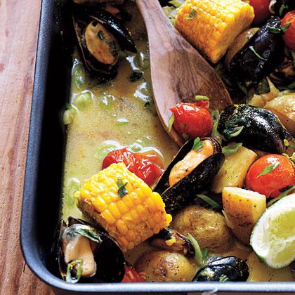 Curried Mussel Pan Roast Recipe