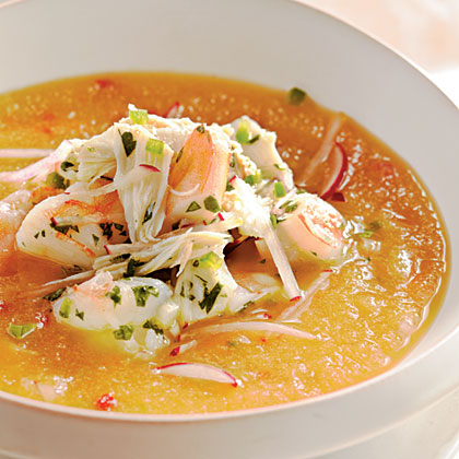 Golden Peach Soup with Shrimp and Crab Seviche