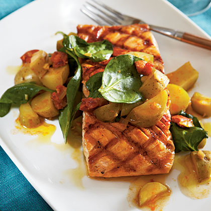 Grilled Salmon with Chorizo and Fingerlings Recipe