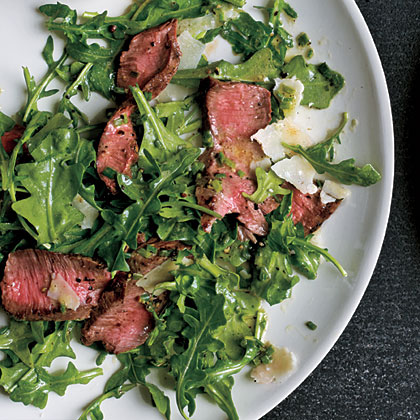 Grilled Steak with Baby Arugula & Parmesan Salad Recipe ...