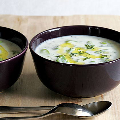 Chilled Cucumber, Avocado, and Yogurt Soup RecipeRich creamy soups are typically high in fat and calories, but this one proves the tasty exception. Low-fat plain yogurt adds the creaminess while a mix of garlic, cumin, cucumber, avocado, and fresh herbs makes it flavorful.