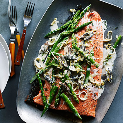 Grilled King Salmon With Asparagus Morels Amp Leeks Recipe Myrecipes