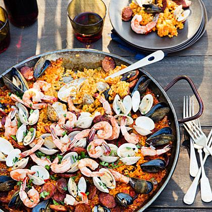 Grilled Seafood and Chorizo Paella