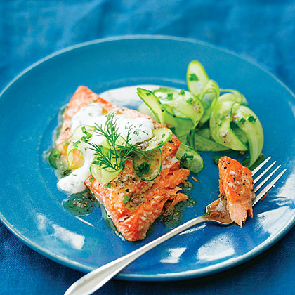 Grilled Salmon with Cucumber Salad Recipe