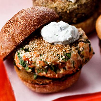 sesame-seed-crusted-salmon-burger-yogurt-sauce Recipe