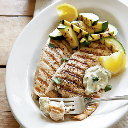 Grilled Trout with Garden Zukes and Herb AïoliRecipe