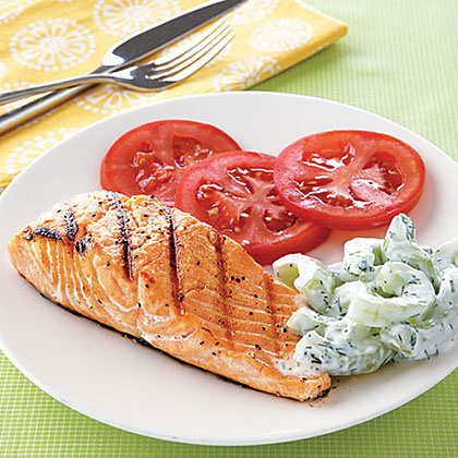 grilled salmon with cucumber yogurt salad recipe. Black Bedroom Furniture Sets. Home Design Ideas