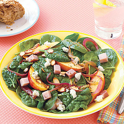 Warm Spinach Salad with Red Onions and Nectarines