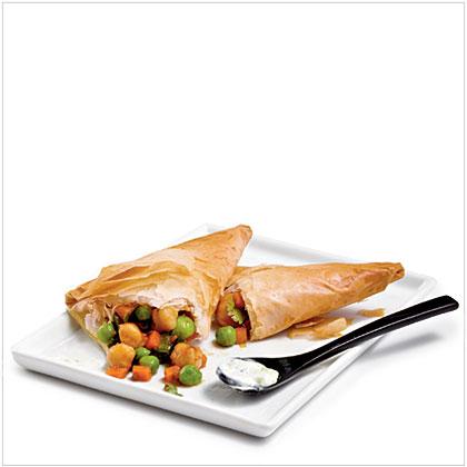 Spicy Chickpea Samosas with Raita Recipe | MyRecipes