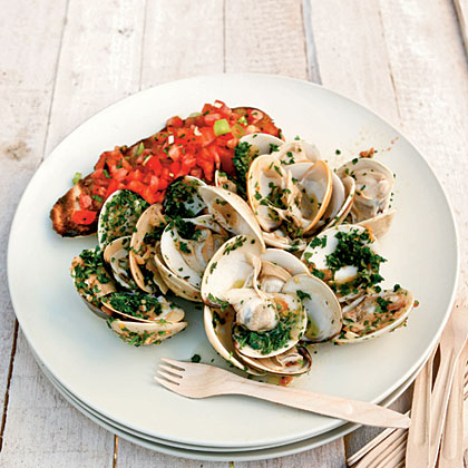 Ginger-and-Herb Pan-Grilled Clams with Tomato Bruschetta