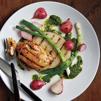 """Grilled Jicama, Radishes, Scallions, and Chicken with Asian-Style """"Chimichurri"""""""