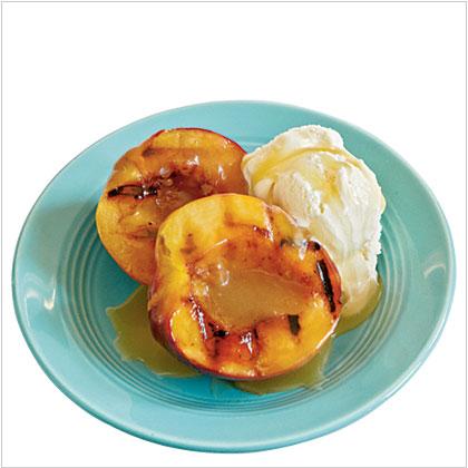 Grilled Nectarines with Vanilla-Honey Sauce and Ice Cream