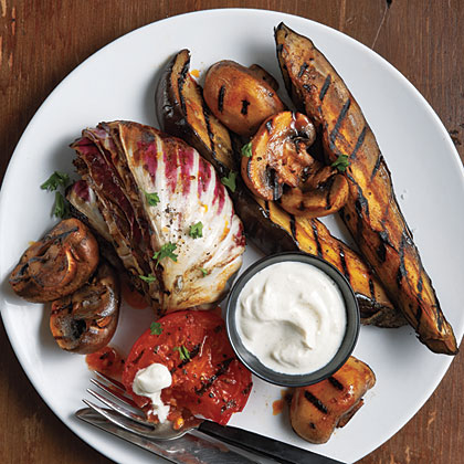 Grilled Vegetables with Yogurt-Tahini Sauce
